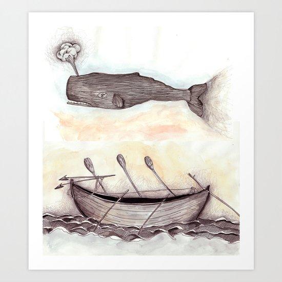 Whale Ship Art Print