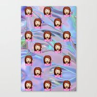 holographic Canvas Prints featuring Hand Girl Emoji Holographic by Andy Paik
