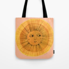 Sun Drawing Gold and Pink Tote Bag