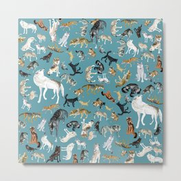 Wolves of the World pattern 2 Metal Print