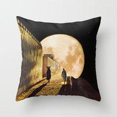 Walking at the moonlight Throw Pillow