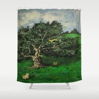 china Shower Curtains featuring China Girl by Diana Estes