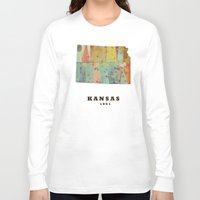 kansas Long Sleeve T-shirts featuring Kansas state map modern by bri.buckley