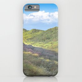 Colorful Beach Dunes with White Clouds in Clear Blue Sky | Travel & Nature photography iPhone Case