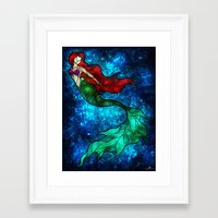 mandie manzano Framed Art Prints featuring The Mermaids Song by Mandie Manzano