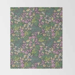 Pink hyacinth with chamomile and green hop on dark background Throw Blanket