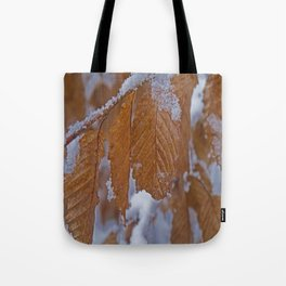 snow and leaves Tote Bag