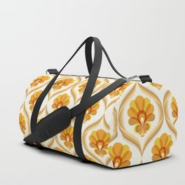 Ivory, Orange, Yellow and Brown Floral Retro Vintage Pattern Duffle Bag