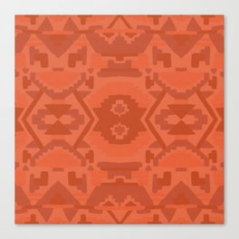 Geometric Aztec in Chile Red Canvas Print