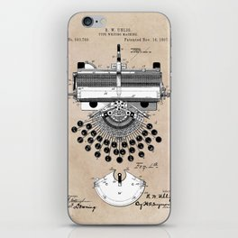 patent art type writing machine iPhone Skin