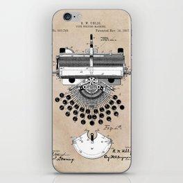patent art type writing machine iPhone Skin