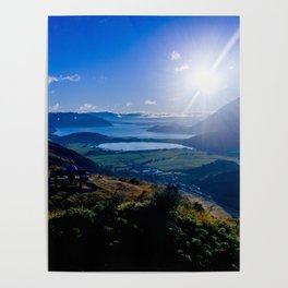 lake wanaka covered in blue colors new zealand beauties and mountains at sunrise Poster