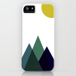 Mountains and Sun Modern Art Print in Teal, Chartreuse and Navy iPhone Case