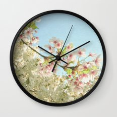 Pink on White Wall Clock