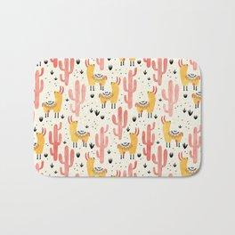 Yellow Llamas Red Cacti Bath Mat