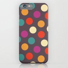 Colorful seamless polka dot pattern grey background digital illustration  iPhone Case