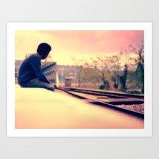 Waiting for the train to Wonderland Art Print