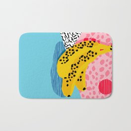 What It Is - memphis throwback banana fruit retro minimal pattern neon bright 1980s 80s style art Bath Mat