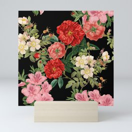 Vintage Floral Pattern on Black Mini Art Print