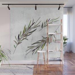 Eucalyptus Leaves White Wall Mural