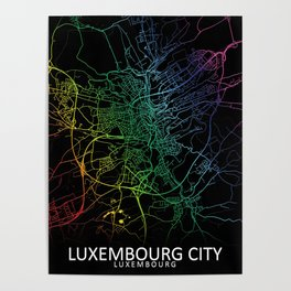 Luxembourg City, Luxembourg, City, Map, Rainbow, Map, Art, Print Poster
