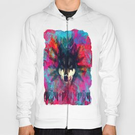 Wolf and the colors, colors, pink, blue, flower, feathers,  Hoody