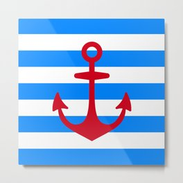 Red Anchor on Navy Blue Stripes Metal Print