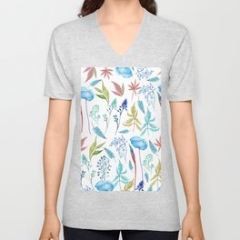 Country watercolor teal green blue foliage floral Unisex V-Neck