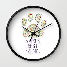 A Girl's Best Friend Floral Watercolor Wall Clock