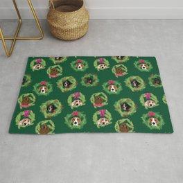 Coonhound Wreaths in Green Rug