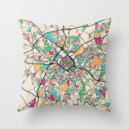 Colorful City Maps: Charlotte, North Carolina Throw Pillow