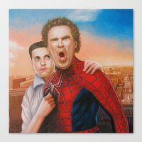 will ferrell Canvas Prints featuring Will Ferrell as spider man along with Tobey Maguire as Jane by Nobilified