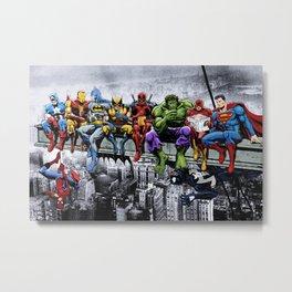 Superhero Lunch Atop A Skyscraper Metal Print