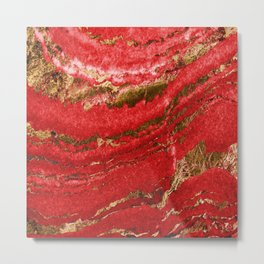 Red and Gold Marble Abstract Design Metal Print