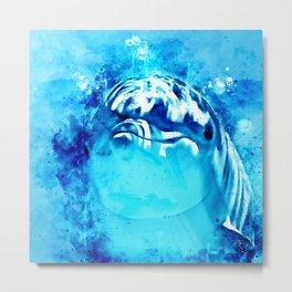 dolphin splatter watercolor Metal Print