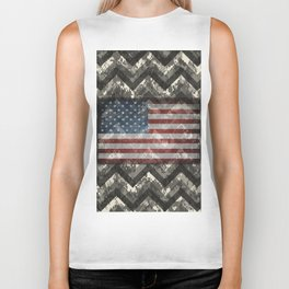 Ivory White Digital Camo Chevrons with American Flag Biker Tank