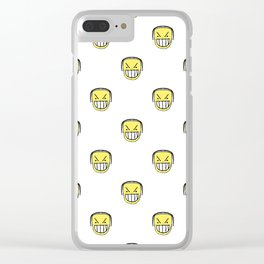 Angry Emoji Graphic Pattern Clear iPhone Case