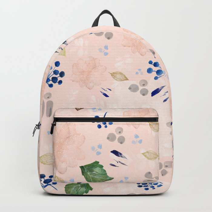 Watercolor and gold nature pattern Backpack