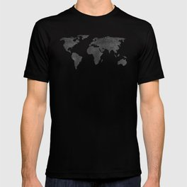 Metallic Graphite Textured World Map T-shirt