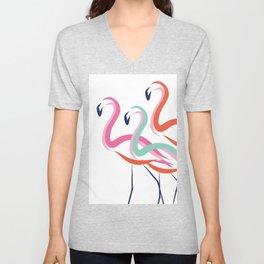 Flamingos never go solo Unisex V-Neck