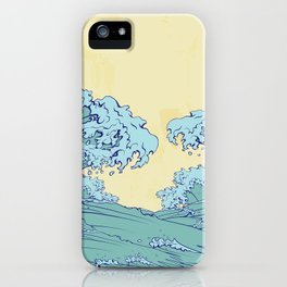 Waves in Japanese style iPhone Case