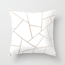Rose Gold White Geometric Glam #1 #geo #decor #art #society6 Throw Pillow