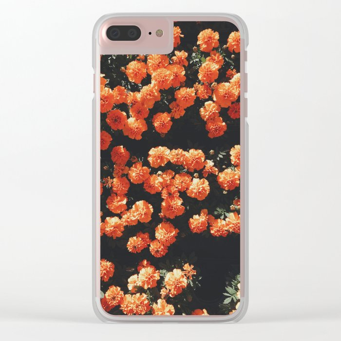 Orange flower fleurs Clear iPhone Case