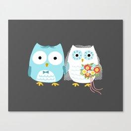 Owls Wedding Day | Bride and Groom Canvas Print