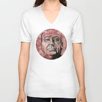 hitchcock V-neck T-shirts featuring Hitchcock by Colunga-Art