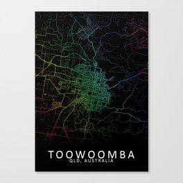Toowoomba, QLD, Australia, City, Map, Rainbow, Map, Art, Print Canvas Print