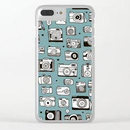 Smile action toy camera vintage photography pattern Clear iPhone Case
