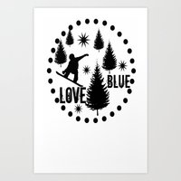 snowboard Art Prints featuring Forest Snowboard Love Blue by Patti Friday