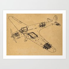 Airplane diagram Art Print