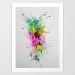 Happy Colors Abstract Flowers and Bubbles Multicolored Art Print